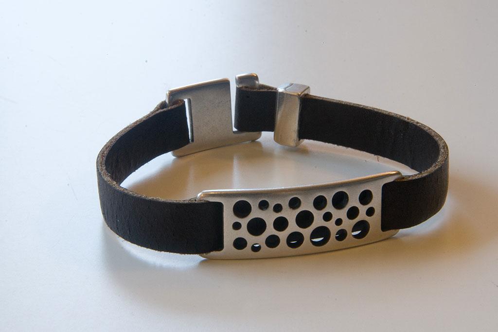 Leren armband, zwart